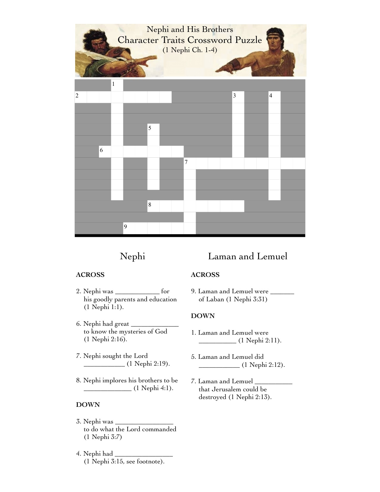 1 Nephi 1-7 (Book Of Mormon Lesson 2) | - Printable Character Traits Crossword Puzzle