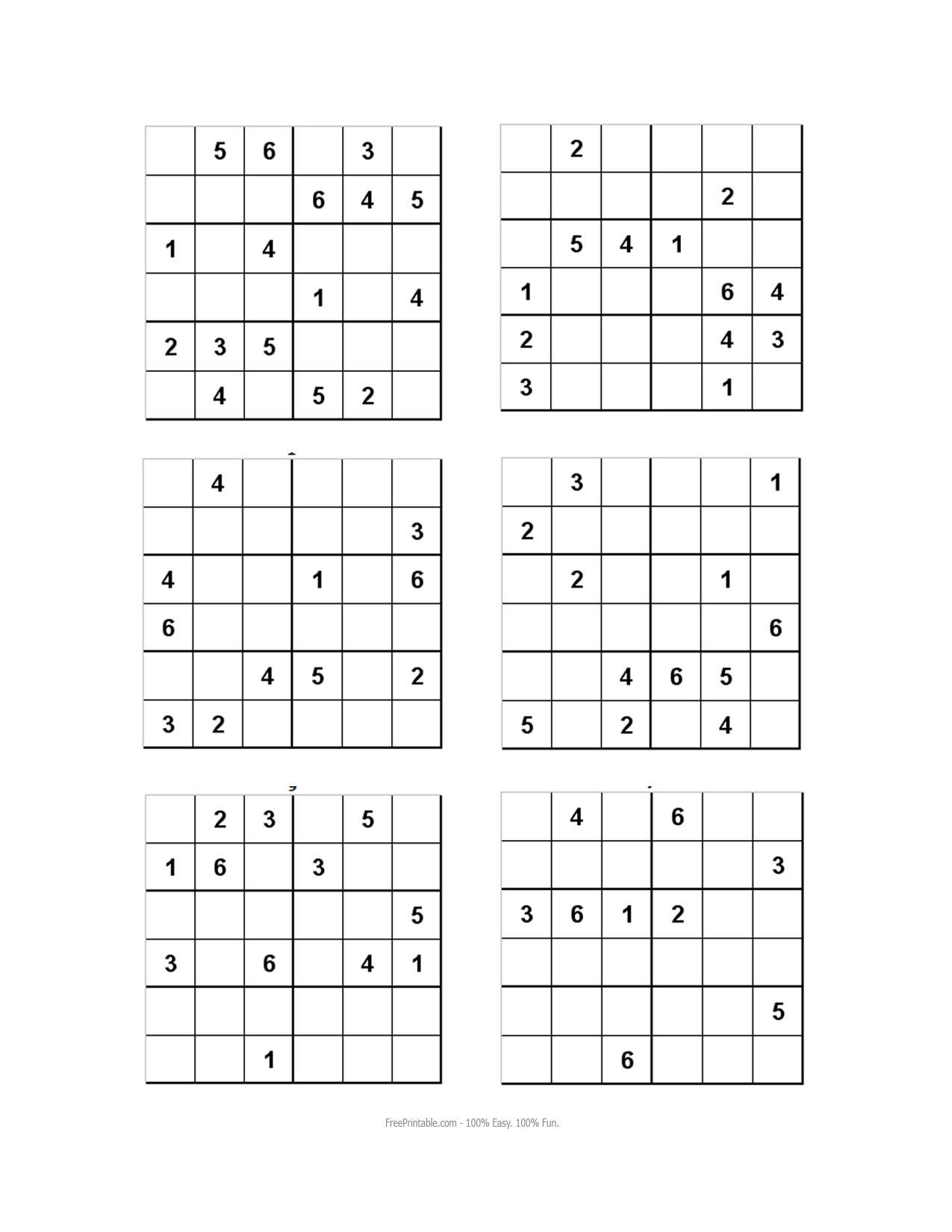 10 Best Photos Of Printable Sudoku For Kids 6 - Easy 6X6 Sudoku - Sudoku Puzzles Printable 6X6
