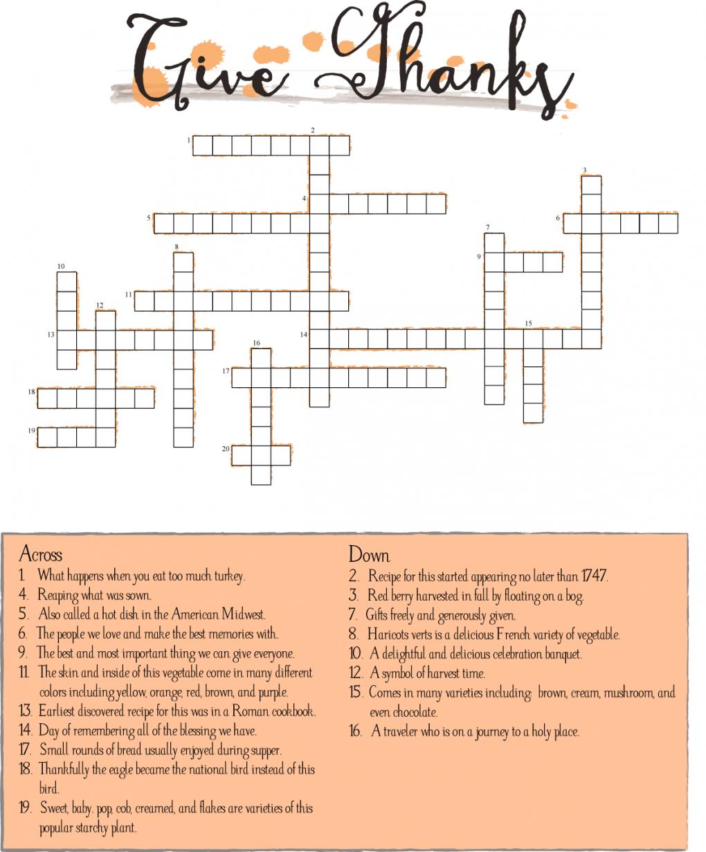 10 Superfun Thanksgiving Crossword Puzzles | Kittybabylove - Printable Crossword Puzzles For Thanksgiving