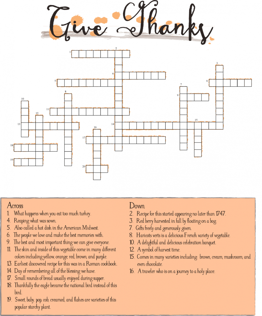 10 Superfun Thanksgiving Crossword Puzzles | Kittybabylove - Printable Thanksgiving Crossword