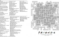 104 Word 'friends' Themed Crossword Puzzle : Howyoudoin   Printable Crossword Puzzles For December 2018