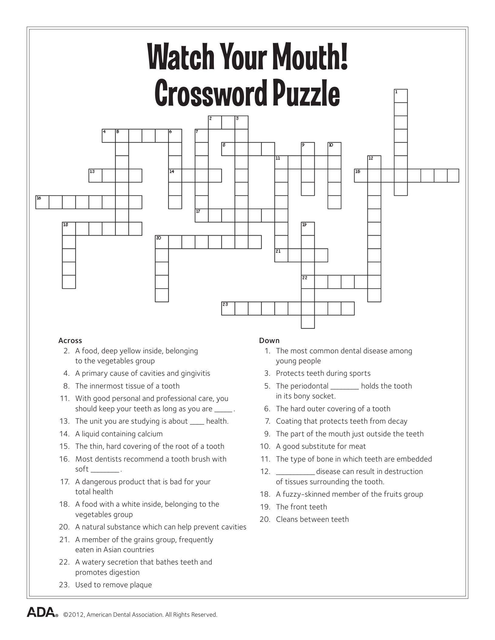 11 Dental Health Activities Puzzle Fun (Printable) | Dental Hygiene - Printable Health Crossword Puzzles