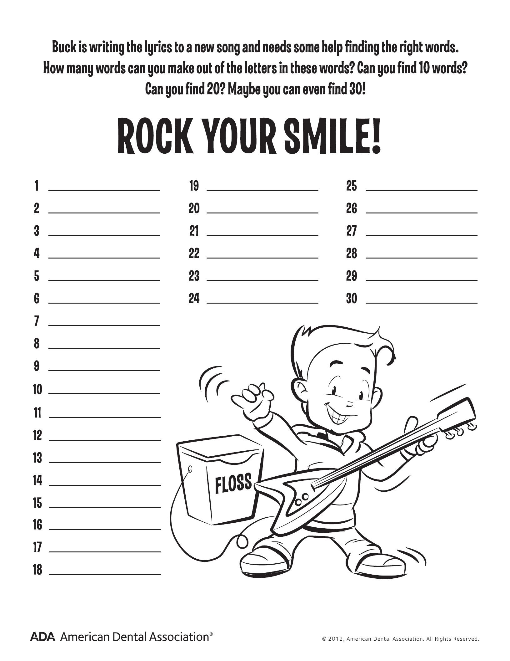 11 Dental Health Activities – Puzzle Fun (Printable) | Personal Hygiene - Printable Puzzle Activities