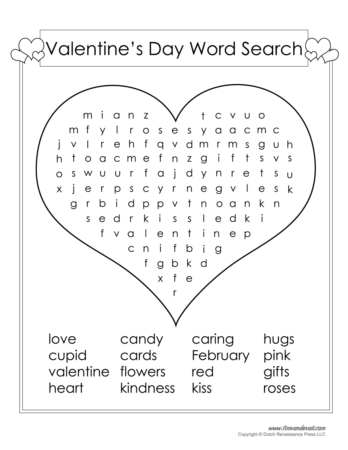 12 Valentine's Day Word Search | Kittybabylove - Printable Valentine Heart Puzzle