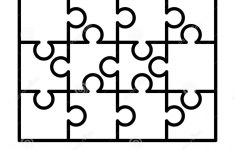12 White Puzzles Pieces Arranged In A Rectangle Shape. Jigsaw Puzzle   Print Jigsaw Puzzle