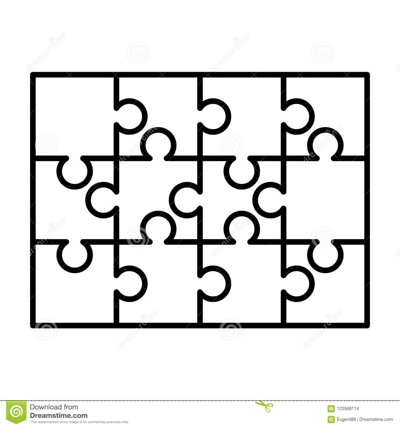 12 White Puzzles Pieces Arranged In A Rectangle Shape. Jigsaw Puzzle - Print Puzzle From Photo