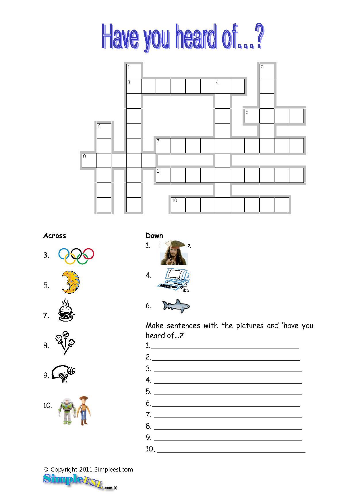 15 Best Photos Of Esl Printable Worksheets Crossword - Printable - Printable Crossword Puzzles For Esl Learners