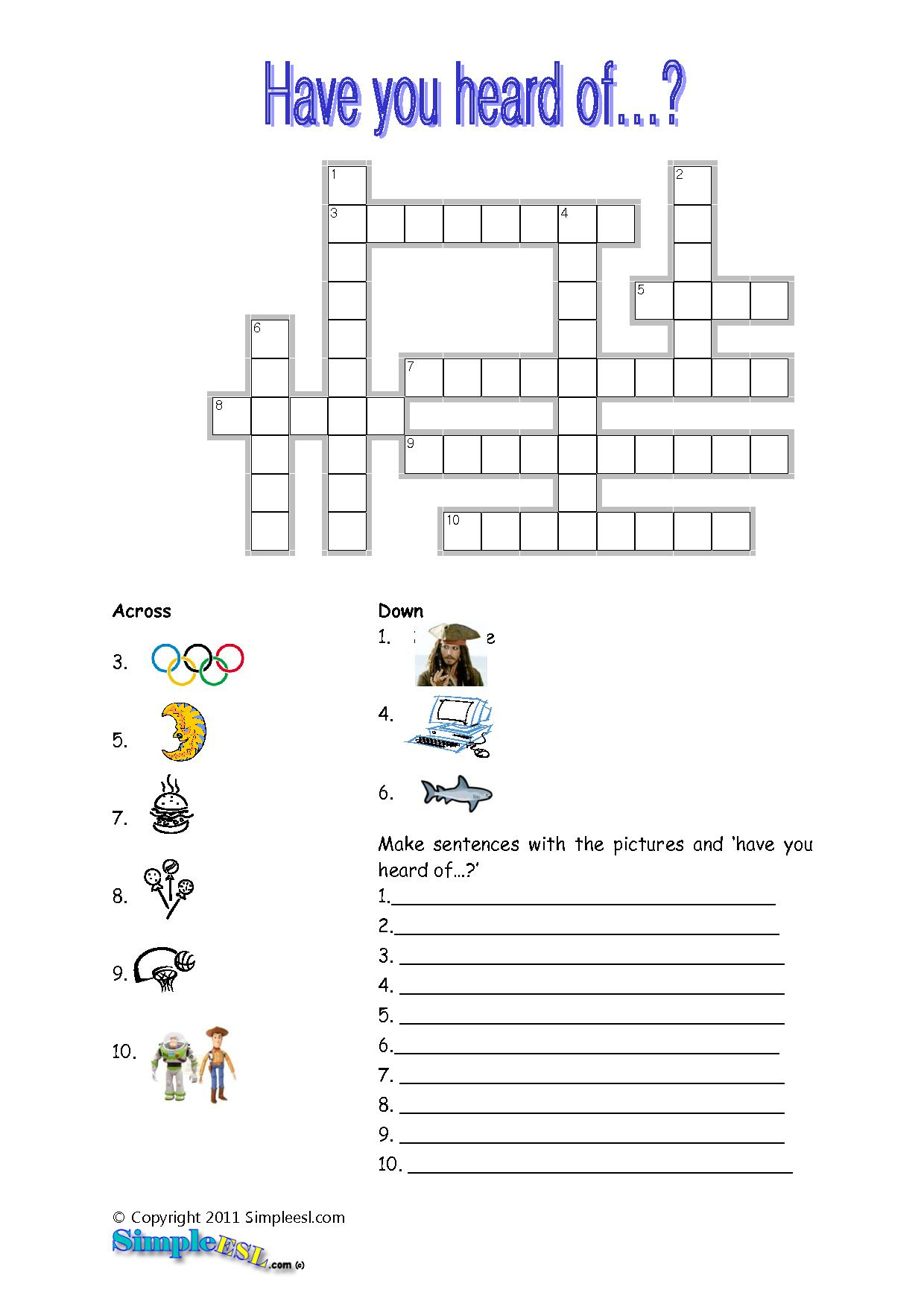 15 Best Photos Of Esl Printable Worksheets Crossword - Printable - Printable Crossword Puzzles For Esl Students