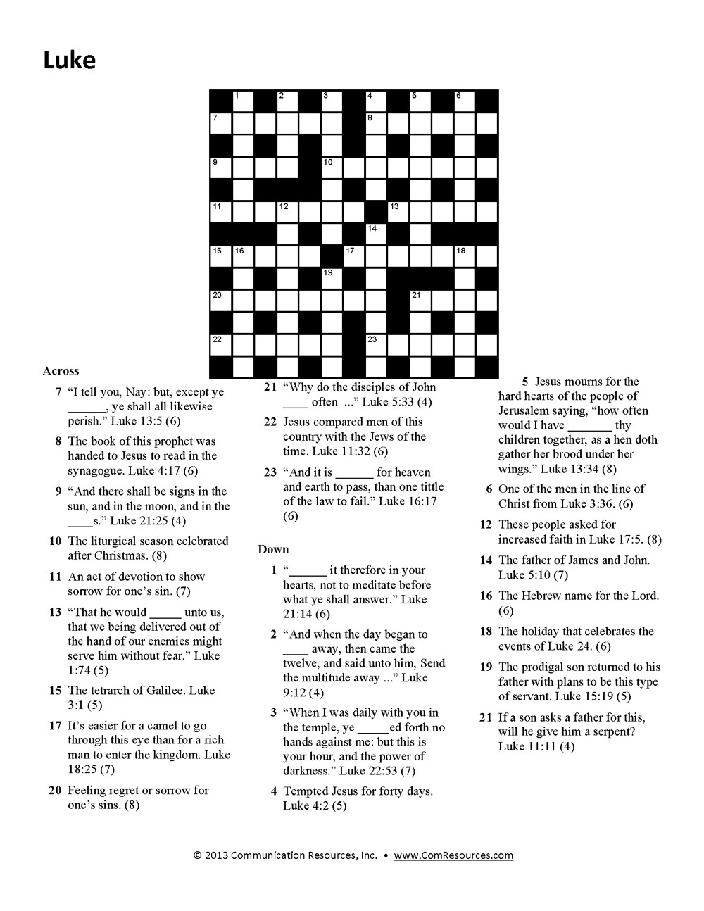 15 Fun Bible Crossword Puzzles | Kittybabylove - Bible Crossword Puzzles Printable With Answers