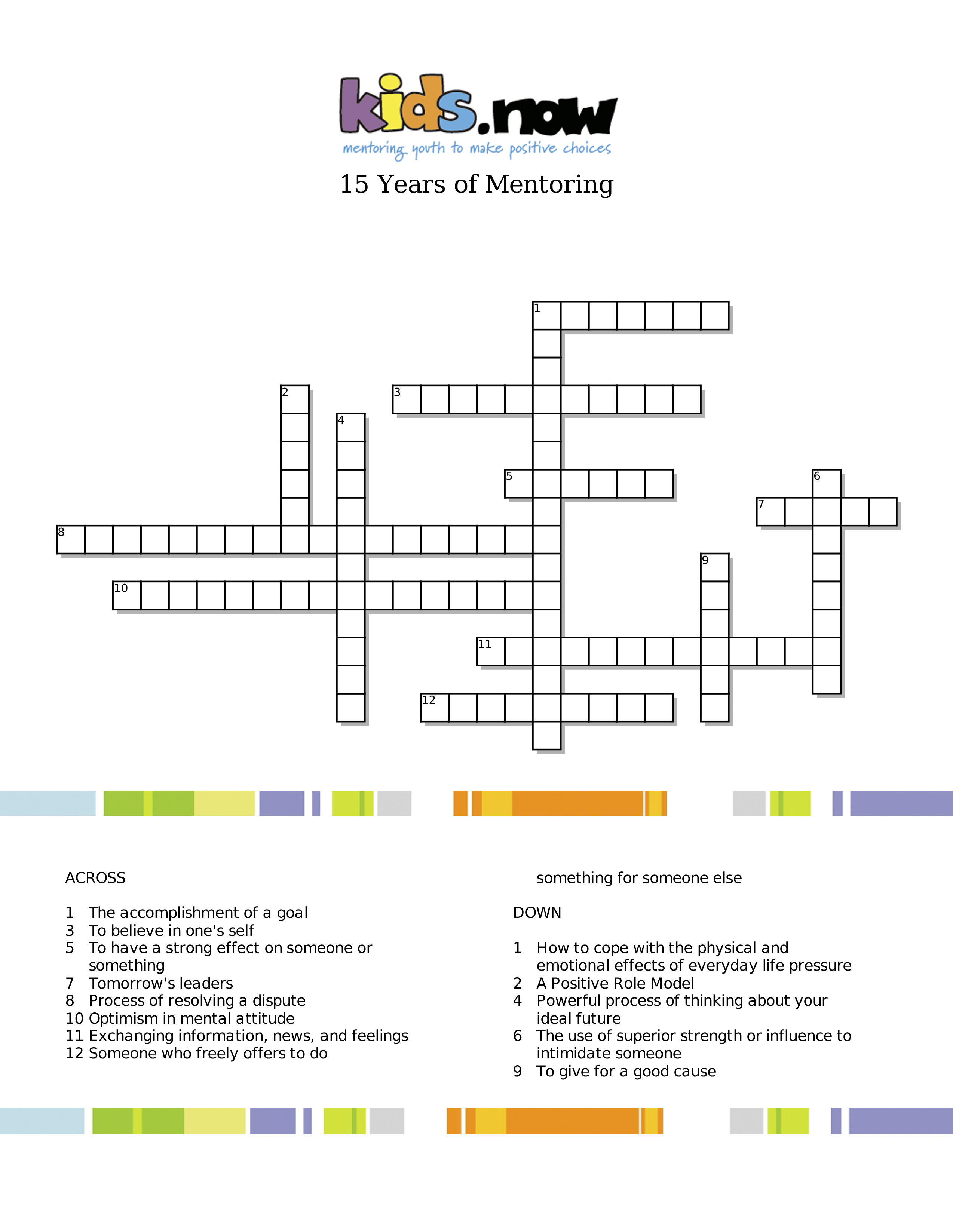 15 Years Of Mentoring | Crossword Puzzle - Kids Now - Printable Conflict Resolution Crossword Puzzle