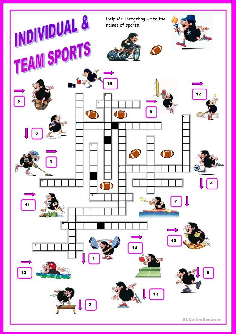 16 Free Esl Sports Crossword Worksheets - Free Printable Sports - Printable Sports Crossword Puzzles