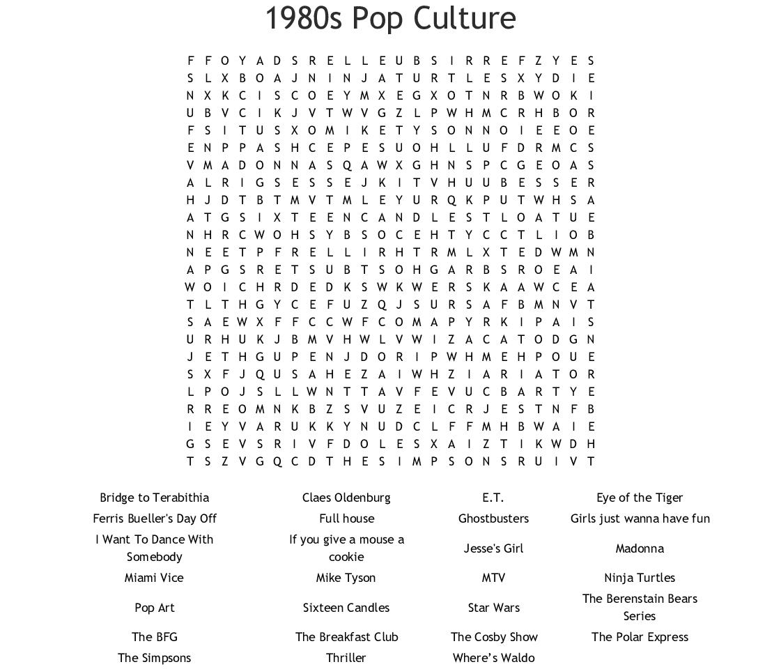 1980S Pop Culture Word Search - Wordmint - Crossword Puzzles Printable 1980S