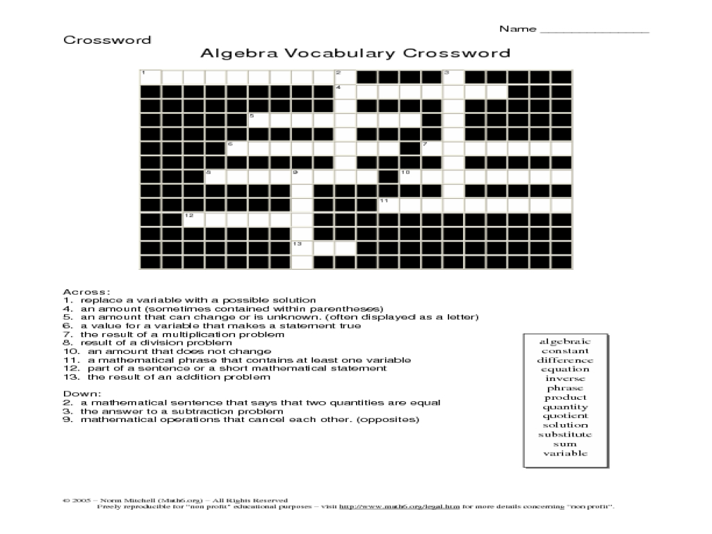 20 Easy And Interactive Math Crossword Puzzles | Kittybabylove - Printable Vocabulary Crossword Puzzles