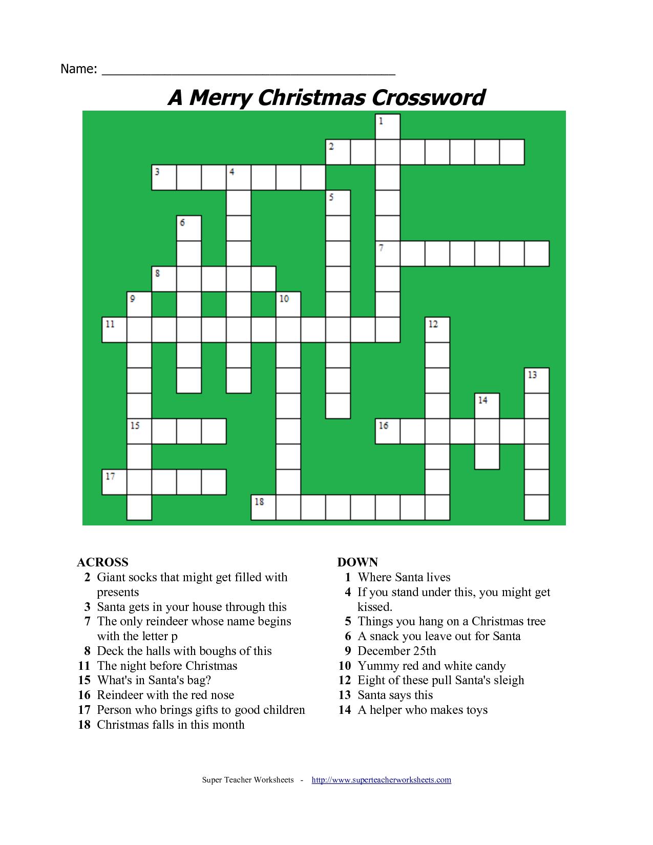 20 Fun Printable Christmas Crossword Puzzles   Kittybabylove - Free Printable Xmas Crossword