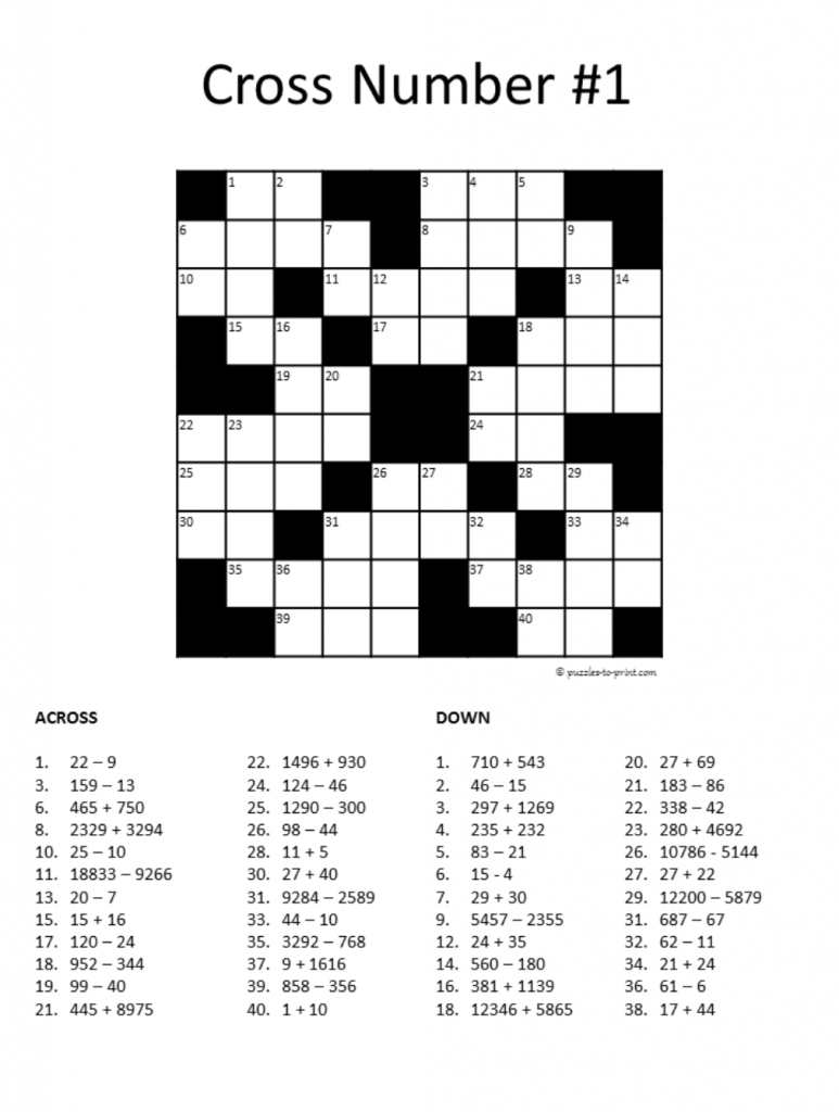 20 Math Puzzles To Engage Your Students | Prodigy - Math Crossword Puzzles Printable