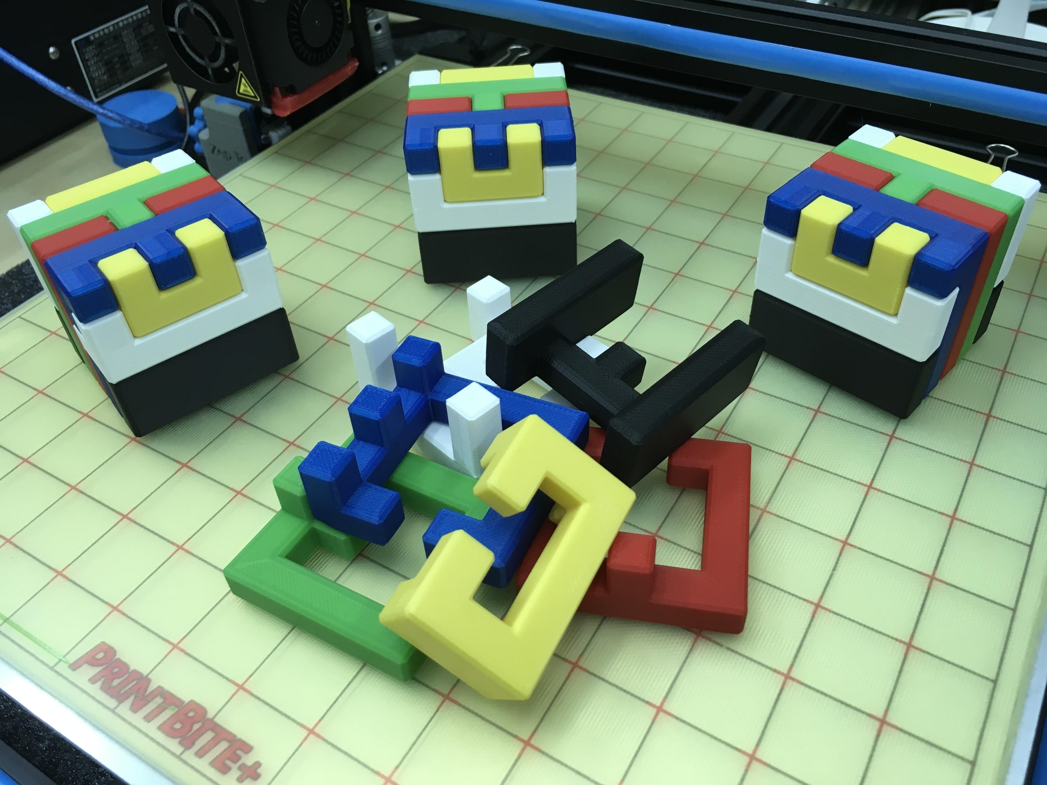 3D Printed Printable Interlocking Puzzle #4 - Level 11Richgain - Printable 3D Puzzle