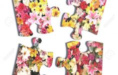 3D Rendering Of Four Puzzle Pieces With Flower Print On White   Print On Puzzle Pieces