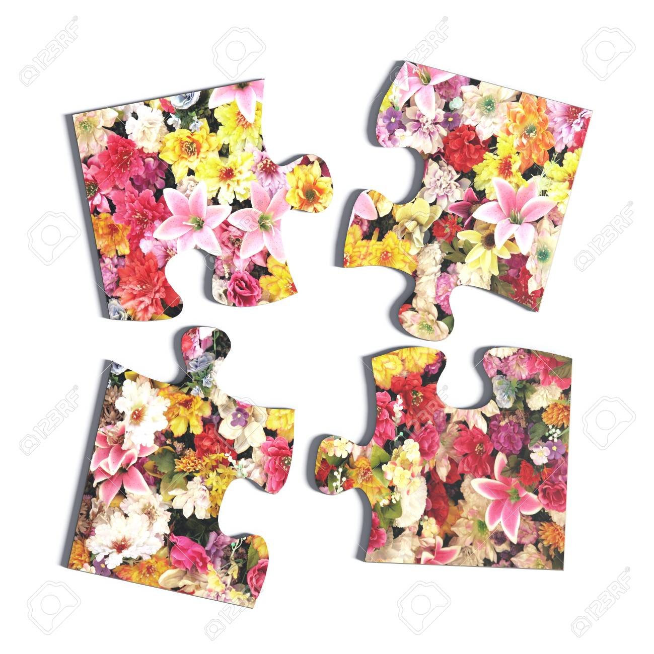 3D Rendering Of Four Puzzle Pieces With Flower Print On White - Print On Puzzle Pieces