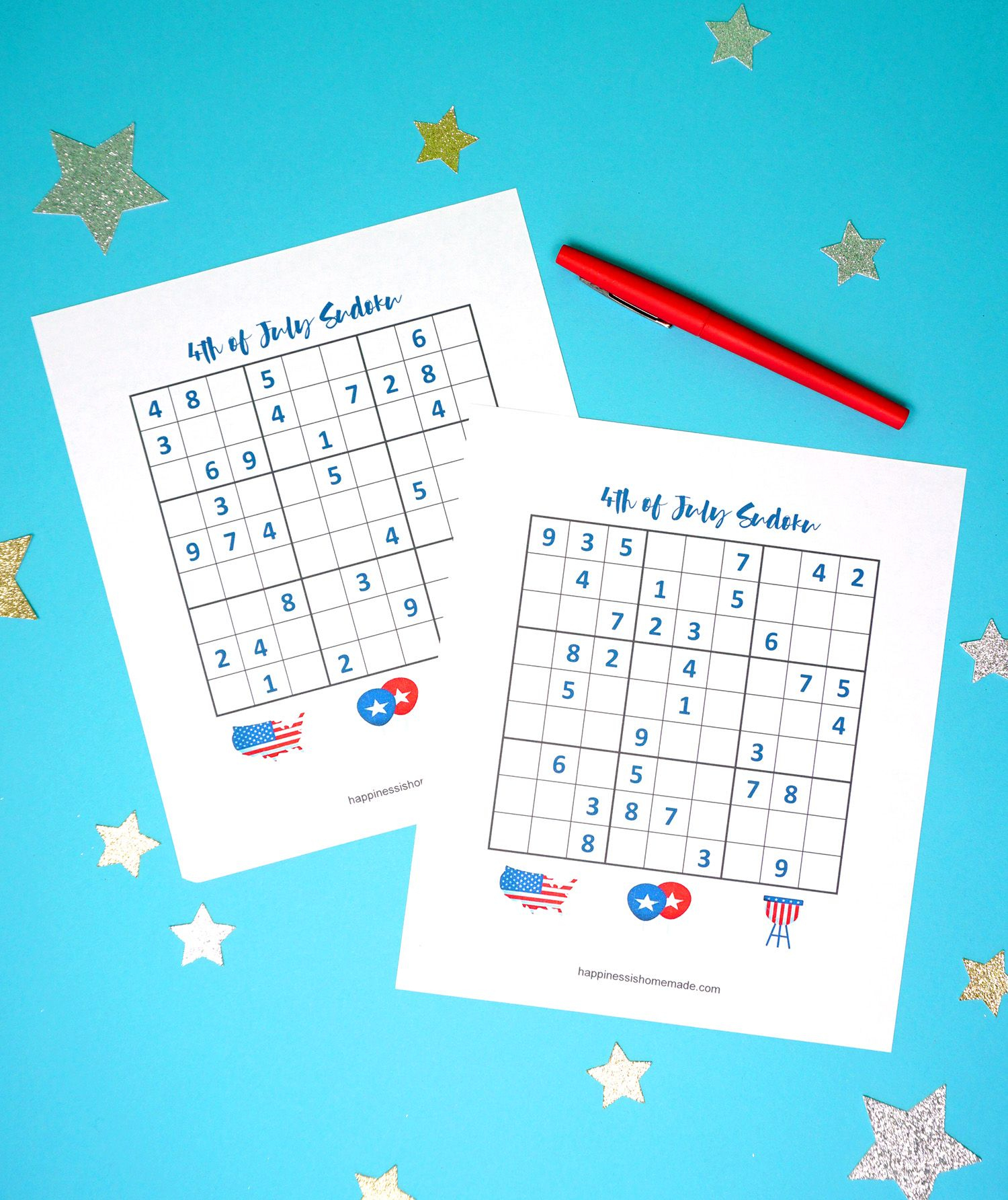 4Th Of July Printable Sudoku Puzzles + Logic Puzzle - Happiness Is - Printable Office Puzzles