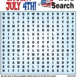 4Th Of July Word Search, History Quiz And More! | Childrens Church   Printable July 4Th Puzzles