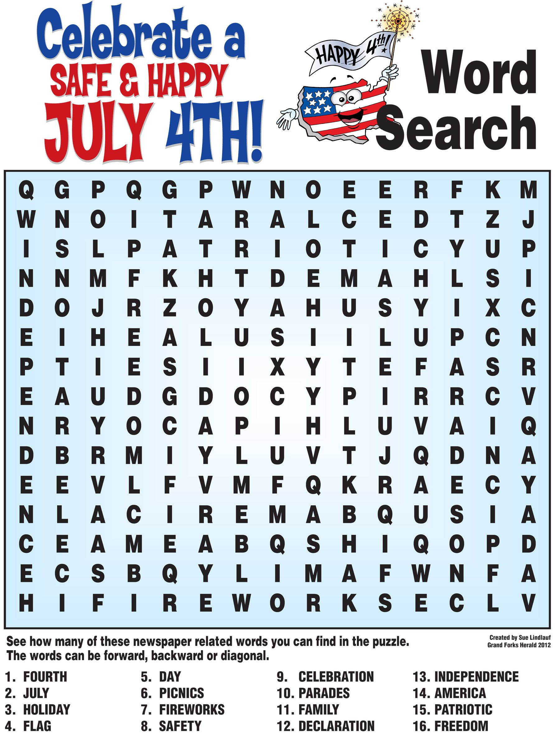4Th Of July Word Search, History Quiz And More! | Childrens Church - Printable July 4Th Puzzles