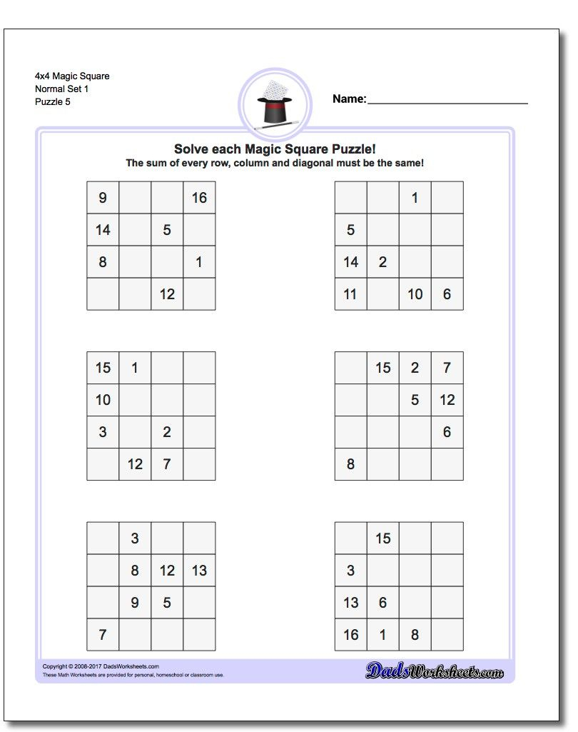 4X4 Magic Square Normal Set 1 Worksheet #magic #square #worksheet - Printable Sudoku Puzzles 4X4