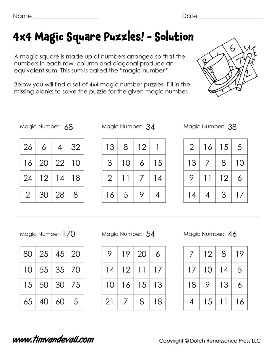 4X4 Magic Square Worksheet - Tim's Printables - Printable Puzzles 4X4