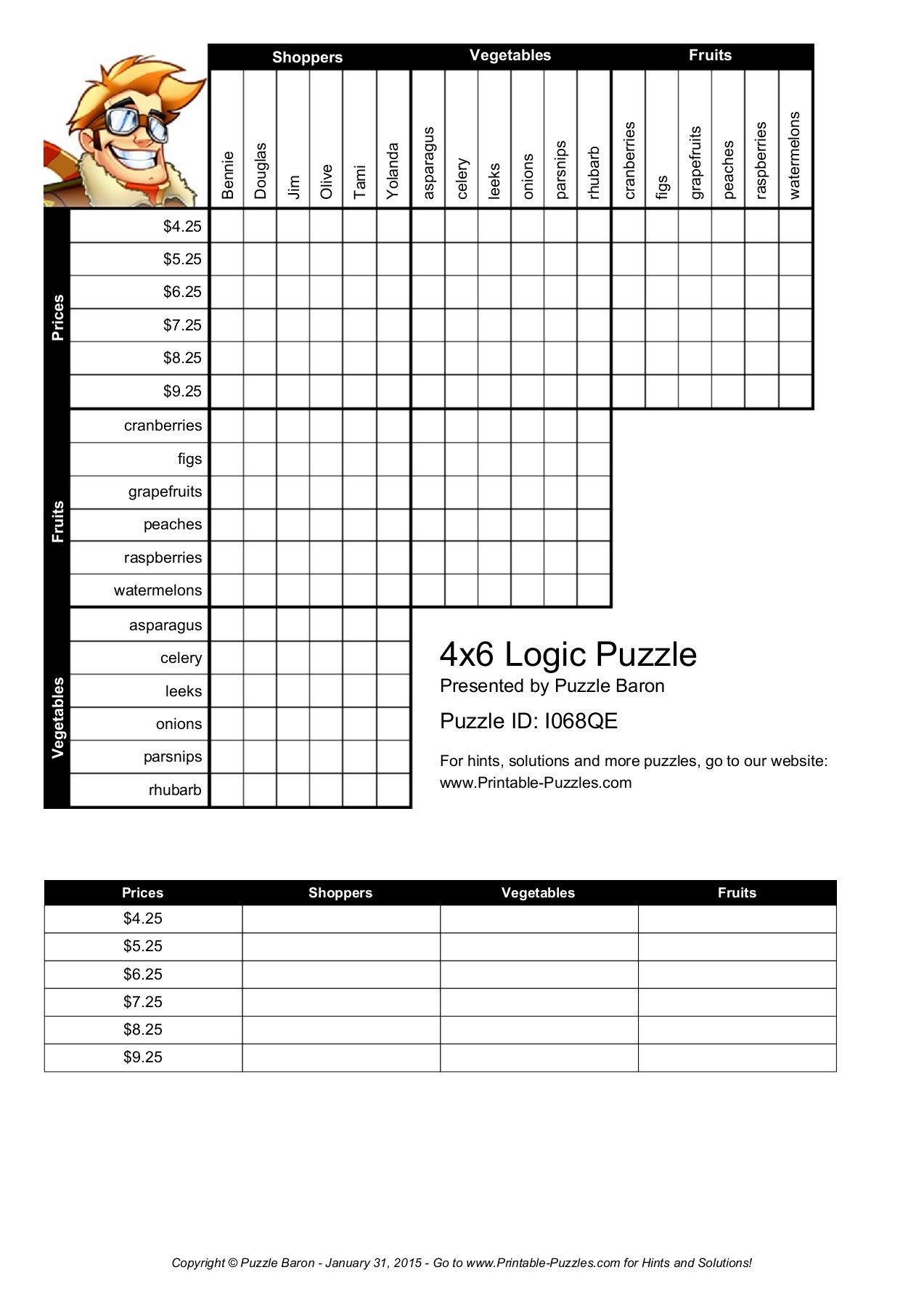 4X6 Logic Puzzle - Logic Puzzles - Play Online Or Print  Pages 1 - Printable Puzzles Logic