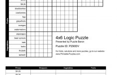 4X6 Logic Puzzle   Logic Puzzles   Play Online Or Print   Printable Puzzle Baron