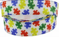 """5/8""""16Mm Jigsaw Puzzle Series Heart Shapes Peace Printed Fold Over   Puzzle Print Ribbon"""