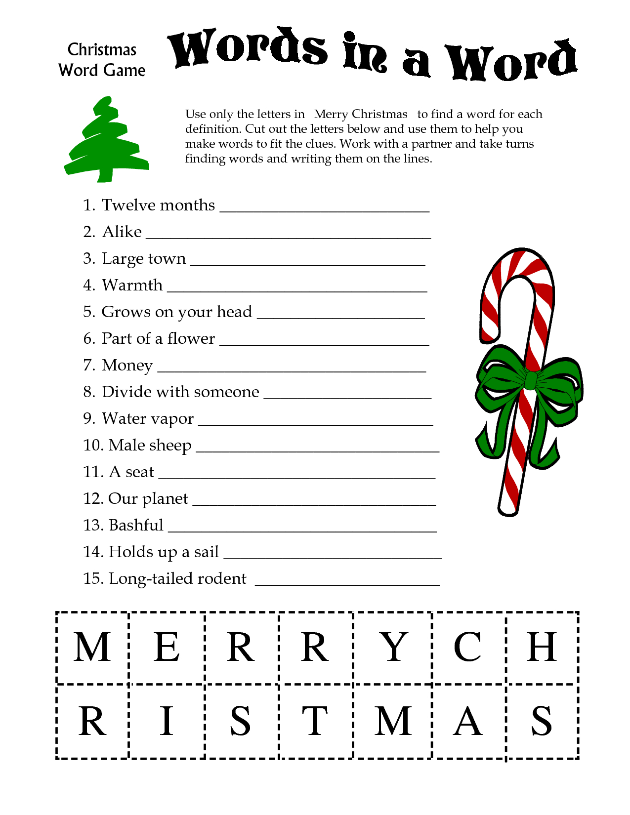 5 Images Of Free Printable Christmas Word Games | Printablee - Printable Christmas Puzzle Games