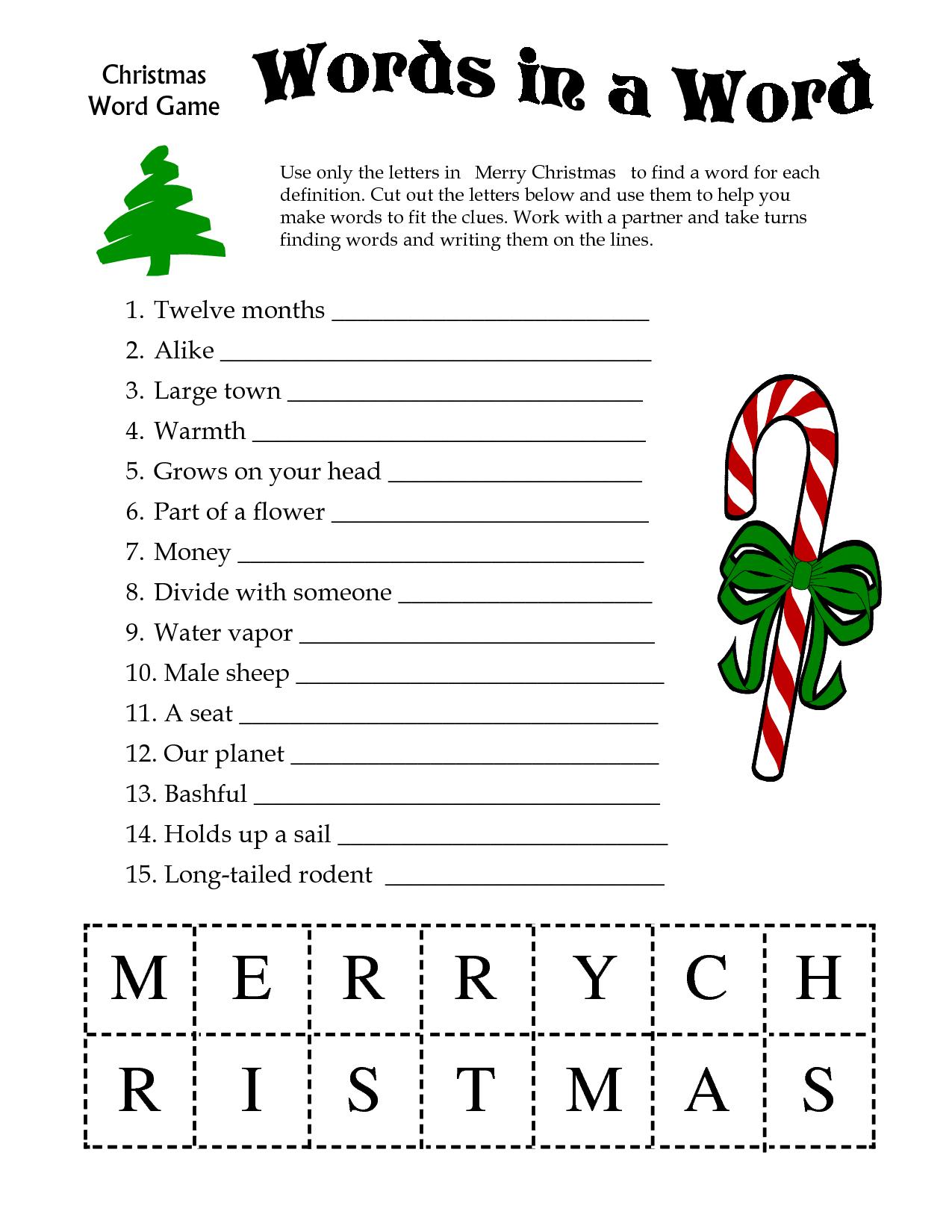 5 Images Of Free Printable Christmas Word Games | Printablee - Printable Christmas Word Puzzle