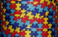"5 Yds 1"" Rainbow Autism Awareness Puzzle Grosgrain Printed Ribbon 4   Puzzle Print Ribbon"