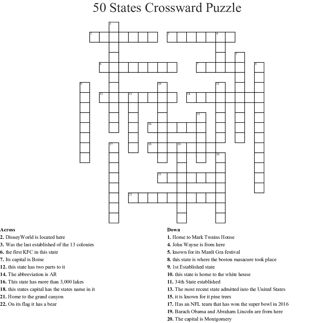 50 States Crossward Puzzle Crossword - Wordmint - Printable United States Crossword Puzzle