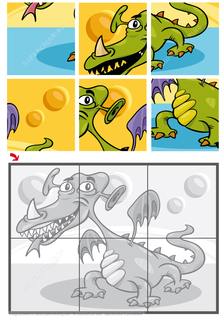 6 Piece Jigsaw Puzzle With A Dragon | Free Printable Puzzle Games - Printable Jigsaw Puzzles 6 Pieces