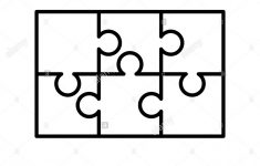 6 White Puzzles Pieces Arranged In A Rectangle Shape. Jigsaw Puzzle   Printable 6 Piece Jigsaw Puzzle