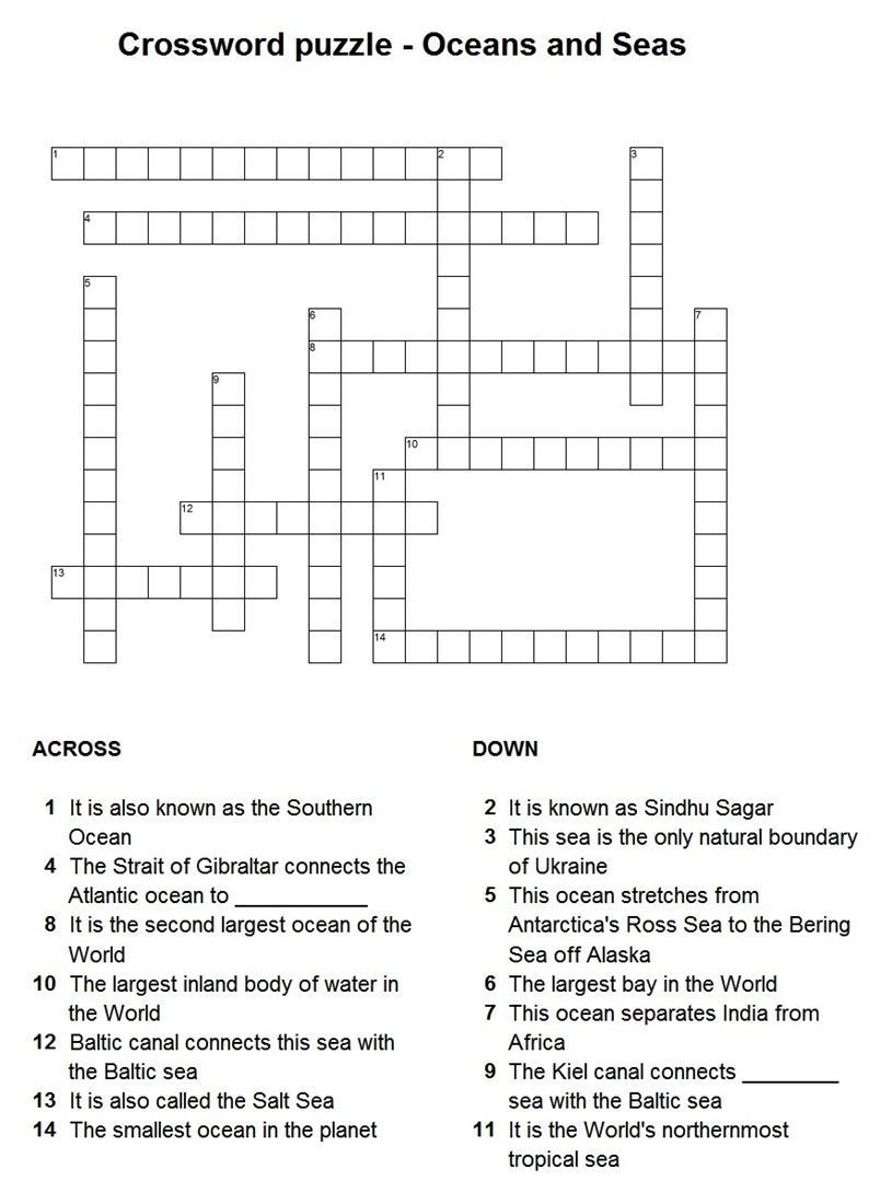 7 Best Photos Of Ocean Crossword Puzzle Printable Google - Ocean - Printable Ocean Crossword Puzzles