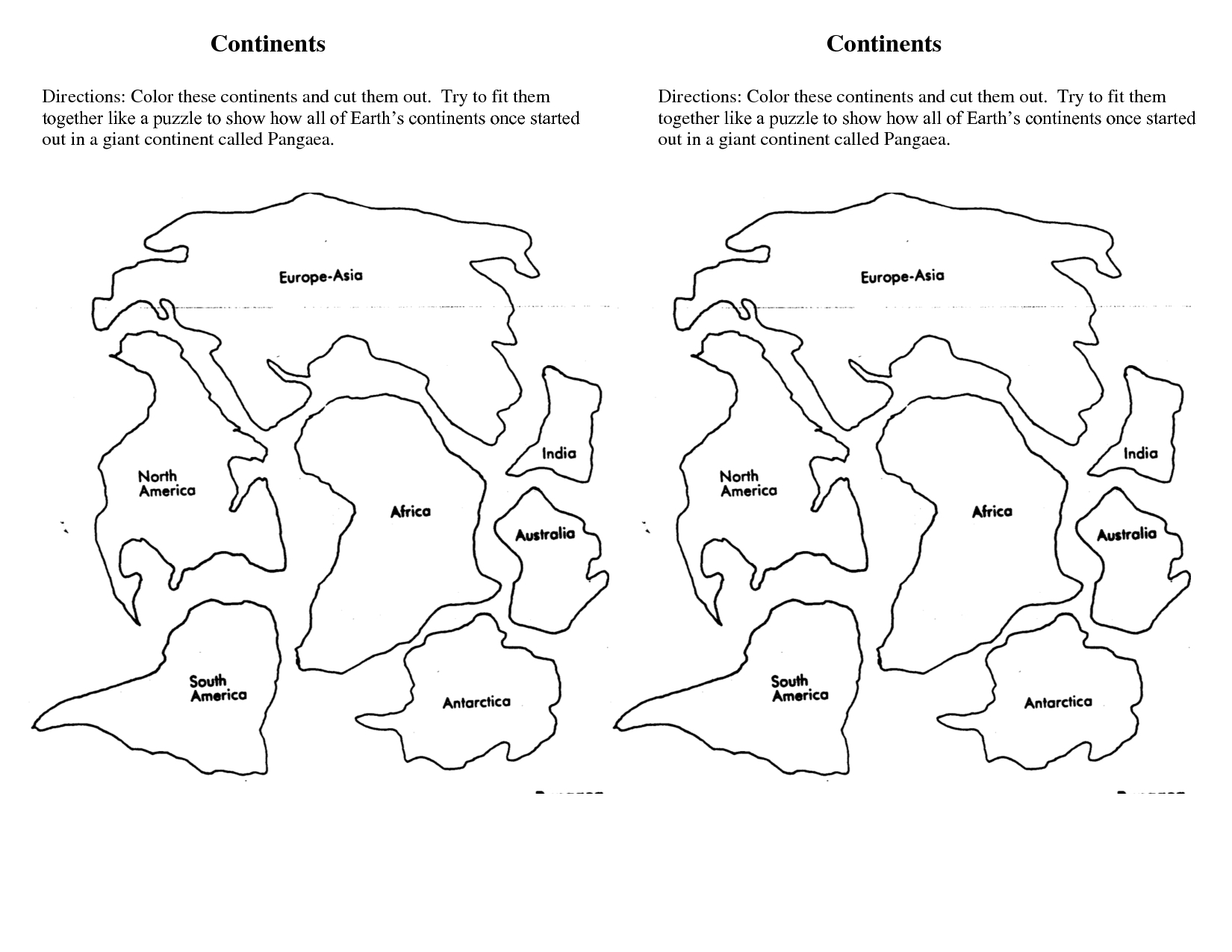 7 Continents Cut Outs Printables | World Map Printable | World Map - 7 Continents Printable Puzzle