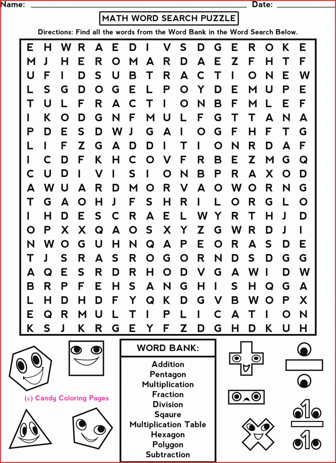 7Th Grade Crossword Puzzles Fresh 7Th Grade Math Word Search - Printable Crossword Puzzles 3Rd Grade
