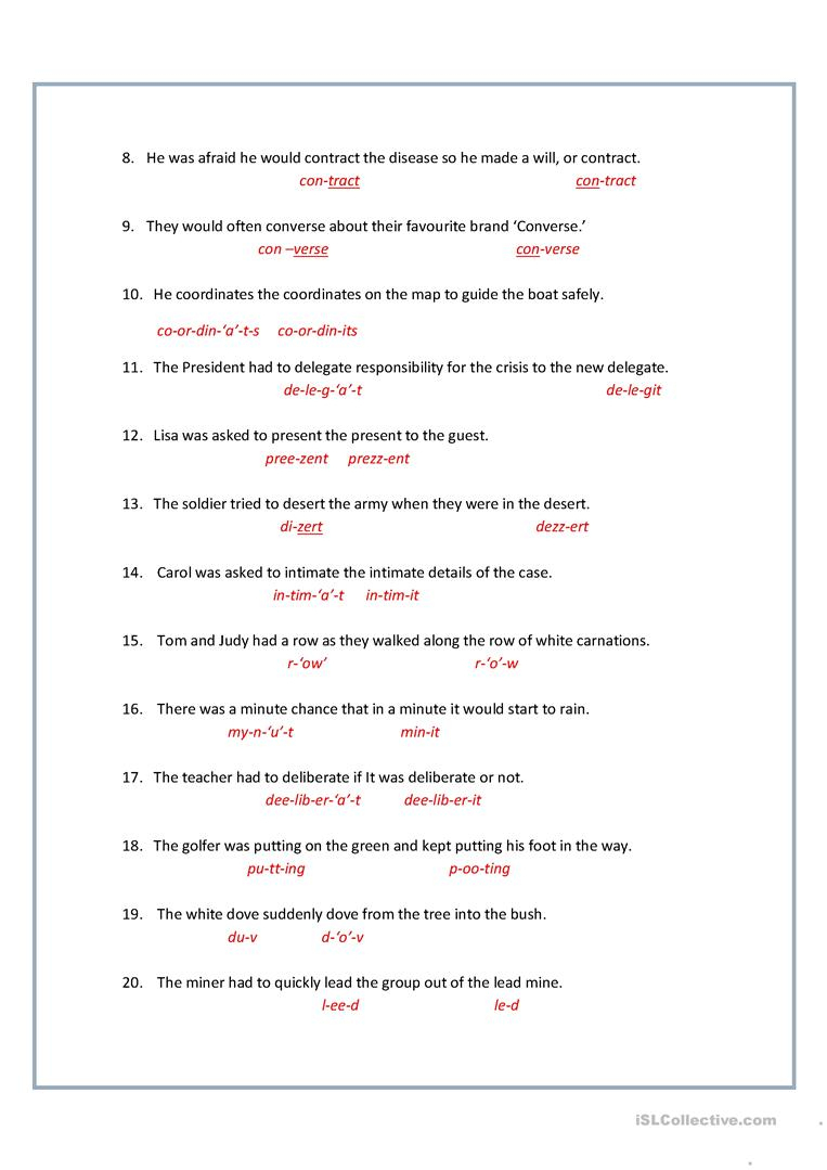8+ Printable Homographs Examples - Pdf | Examples - Printable Homograph Puzzles