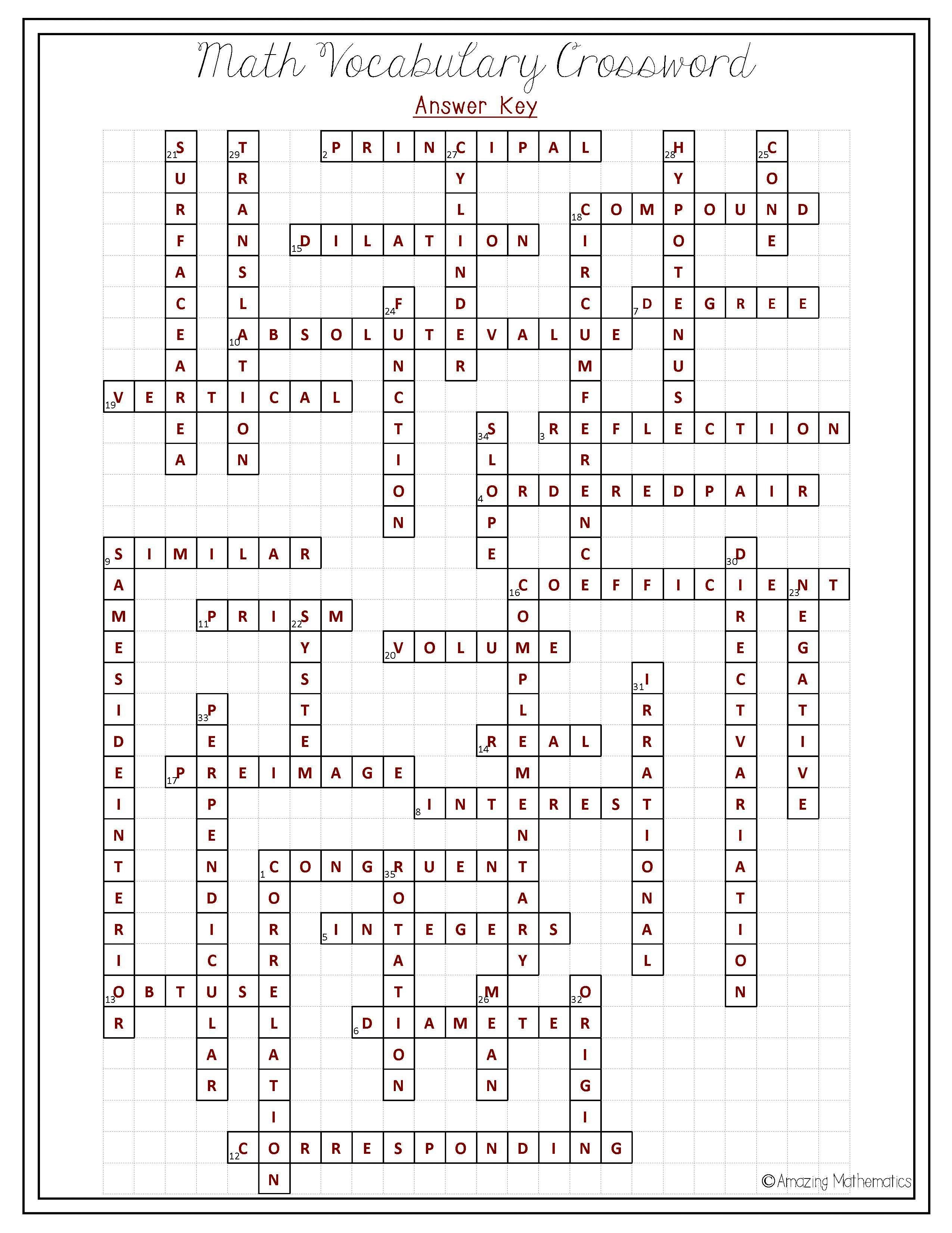 8Th Grade Math Vocabulary Crossword   Puzzles   Math Vocabulary, 8Th - Printable Math Vocabulary Crossword Puzzles