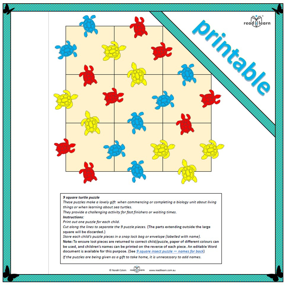 9 Square Turtle Puzzle - Readilearn - Printable Square Puzzle
