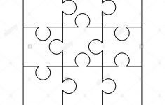 9 White Puzzles Pieces Arranged In A Square. Jigsaw Puzzle Template   Print On Puzzle Pieces