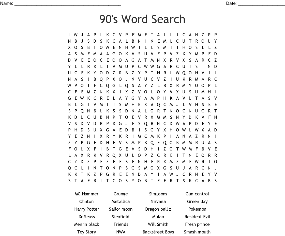 90's Word Search - Wordmint - 90S Crossword Puzzle Printable
