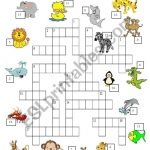 A Crossword Puzzle On Animals. Answer Key Included. Hope You Like It   Animal Crossword Puzzle Printable