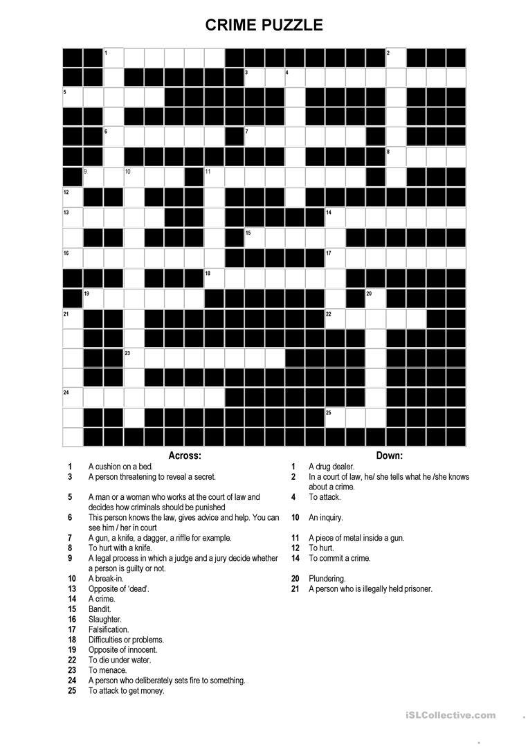 A Crossword Puzzle On Crime Worksheet - Free Esl Printable - Printable Crossword Puzzles Intermediate