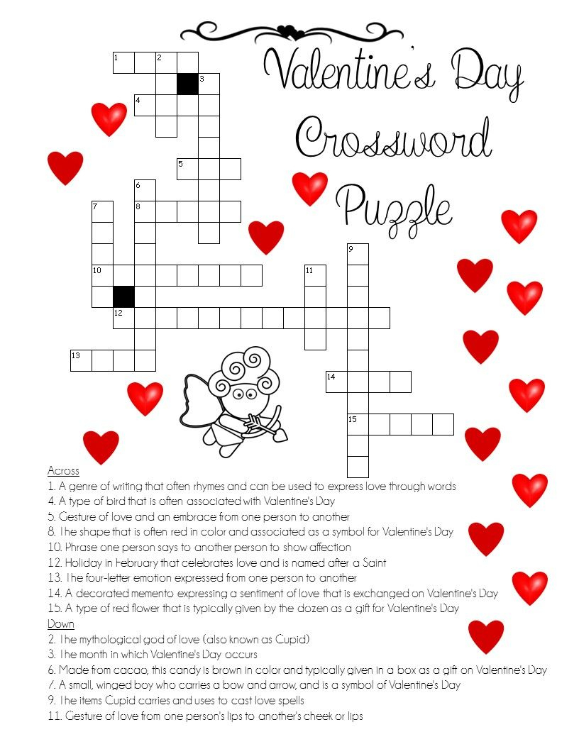 "A ""love"" For Words! Valentine's Day Crossword Puzzle - Printable Christian Valentine Puzzles"