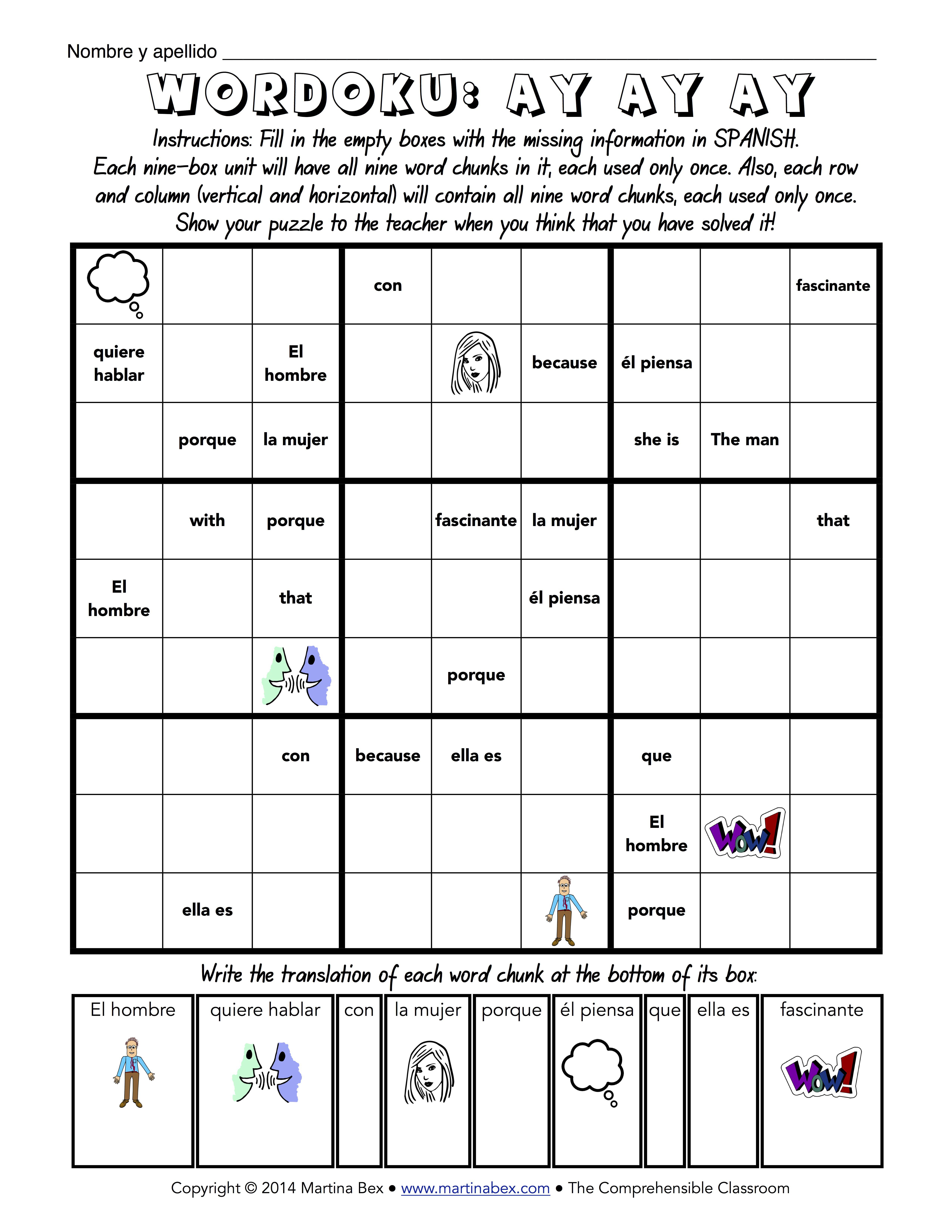 A New Way To Wordoku | Español | Spanish Classroom Activities - Printable Wordoku Puzzles