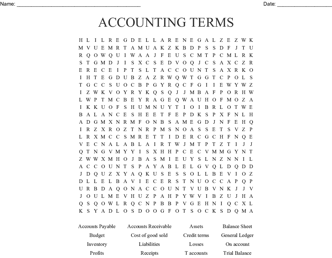 Accounting Terms Word Search - Wordmint - Free Printable Accounting Crossword Puzzles