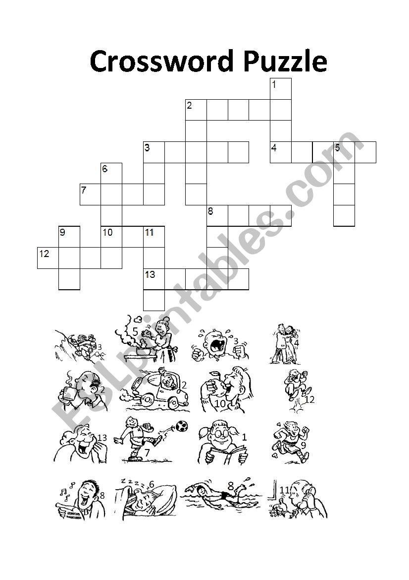 Action Verbs - Crossword Puzzle - Esl Worksheetpaoldak - Verbs Crossword Puzzle Printable